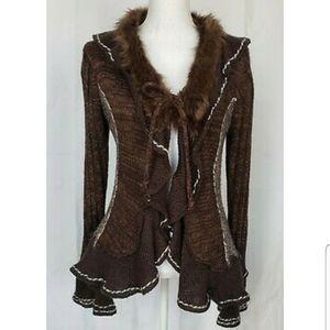 Anthropologie Sioni Studio Brown Faux Fur Cardigan